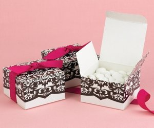 White & Black Flourish Favor Boxes (Set of 25) image