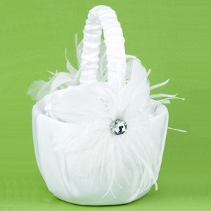 Feathered Flair Basket for Flower Girls image