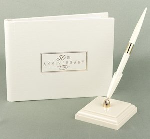 50th Wedding Anniversary Small Ivory Guest Book image