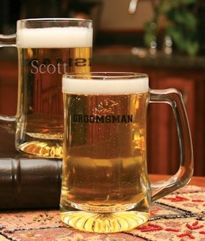 Personalized Glass Groomsman Beer Mug image