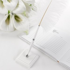 Fancy White Plume Pen with Square Base image