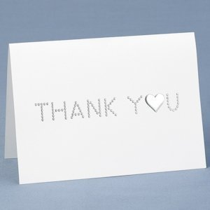 Embossed Silver Dots Wedding Thank You Notes (Set of 50) image
