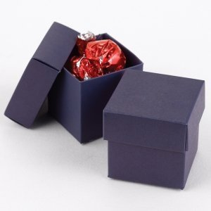 Mix and Match Two Piece Navy Blue Favor Boxes (Set of 25) image