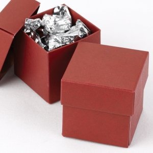 Mix and Match Two Piece Claret Red Favor Boxes (Set of 25) image