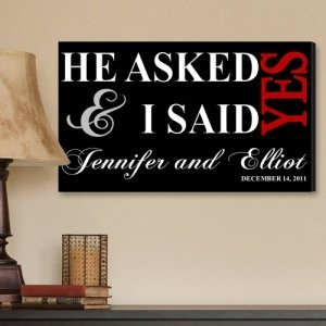 Personalized He Asked Wedding Canvas Print image