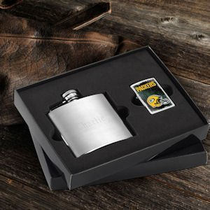 Personalized Flask and NFL Zippo Lighter Set (10 Designs) image