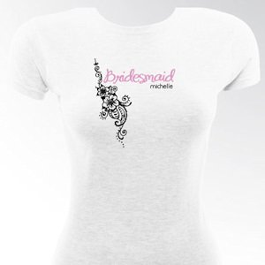 Personalized Tropical Blooms Bridesmaid & Bride T-Shirts image