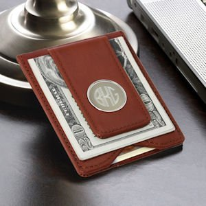 Brown Leather Wallet & Money Clip image