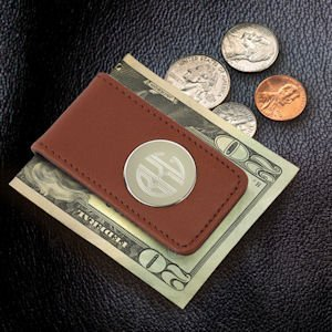 Leather Magnetic Money Clip-Brown image