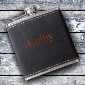 Personalized Suede Wrapped Flask image