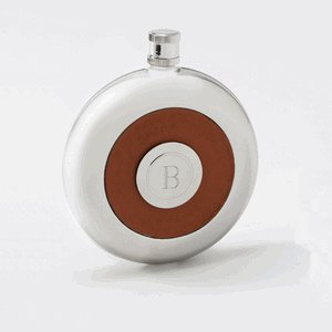 Monogrammed Round Leather Flask with Shot Glass image