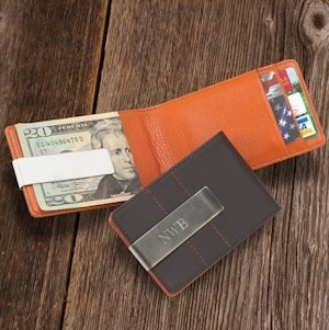 Personalized Leather Combo Wallet-Money Clip image