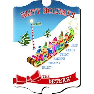 Personalized Vintage Holiday Elves Sign image