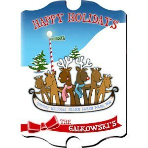 Personalized Vintage Holiday Reindeer Sign image