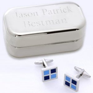Blue Square Cufflinks with Personalized Case image
