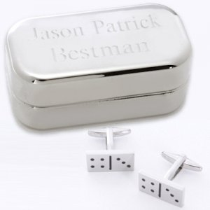 Dashing Domino Cufflinks with Engraved Case image