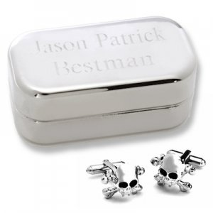 Dashing Skull & Crossbones Cufflinks with Personalized Case image