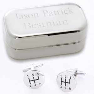 Dashing Stick Shift Cufflinks with Personalized Case image