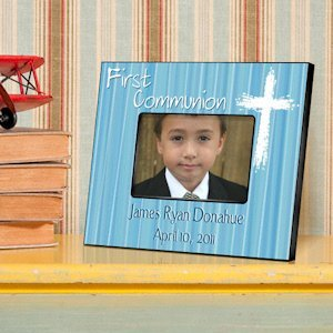 Personalized Blue First Communion Frame image