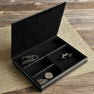 Personalized Deluxe Leather Valet image