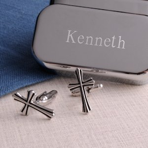 Silver Cross Cufflinks with Personalized Case image