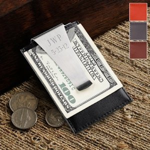 Engraved Leather Backed Money Clip (4 Colors) image
