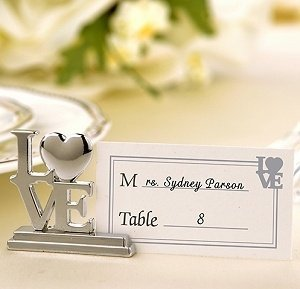 Silver LOVE Placecard Holder Wedding Favors (Set of 4) image