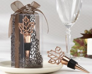 Fall Leaf Bottle Stopper with Copper Finish image