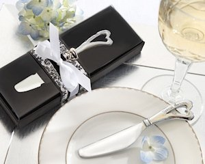 Chrome Cheese Spreader with Heart-Shaped Handle image