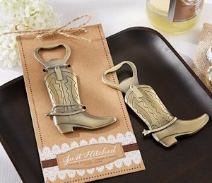'Just Hitched' Western Cowboy Boot Bottle Opener Favors image