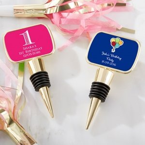 Personalized Birthday Gold Bottle Stopper Favors image