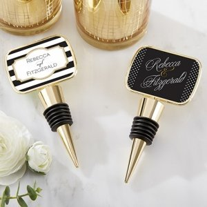 Personalized Classic Design Gold Bottle Stopper Favors image
