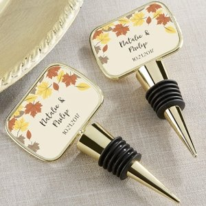 Personalized Fall Leaves Gold Bottle Stopper Favors image