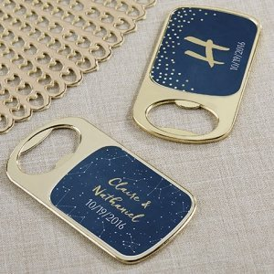 Personalized Under the Stars Gold Bottle Opener Favors image