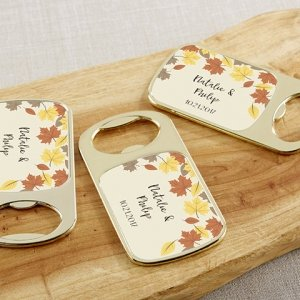 Personalized Fall Leaves Gold Bottle Opener Favors image