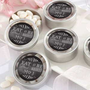 Personalized Eat Drink & Be Married Silver Round Candy Tin image