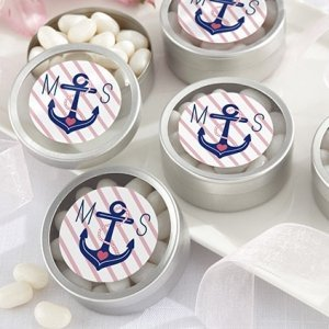 Personalized Nautical Bridal Shower Favor Candy Tins image