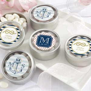 Nautical Themed Personalized Round Candy Tins (Set of 12) image