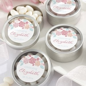 Personalized Rustic Bridal Shower Candy Tin Favors image