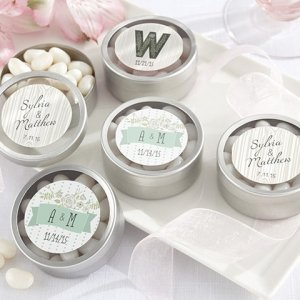 Rustic Themed Personalized Round Candy Tins (Set of 12) image