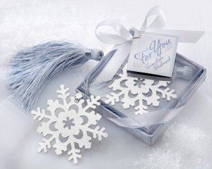 Silver Bookmark Snowflake Wedding Favors with Tassel image