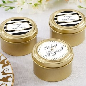 Personalized Classic Design Gold Candy Tins (Set of 12) image