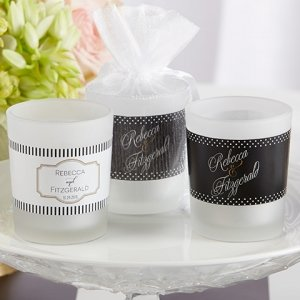 Personalized Classic Design Frosted Glass Votive Favors image