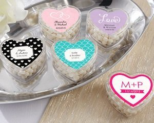 Personalized Clear Heart Shaped Favor Boxes (Set of 12) image