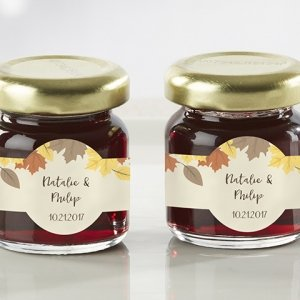 Personalized Fall Leaves Strawberry Jam Favors (Set of 12) image