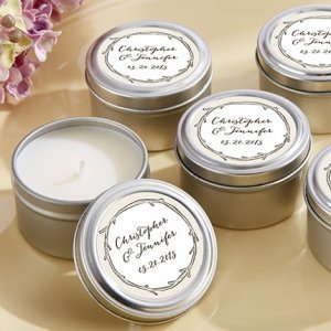 The Hunt Is Over' Personalized Rustic Travel Candle Favors image