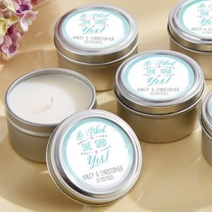 He Asked - She Said Yes' Personalized Travel Candle Favors image