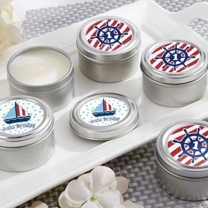 Personalized Nautical Birthday Travel Candle Favor image