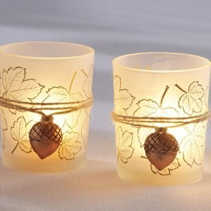 Leaf Print Candle Holder with Copper Acorn Charm (Set of 4) image