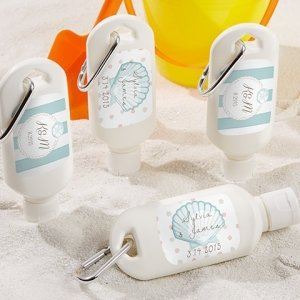 Personalized Beach Tides Sunscreen Bottle Favors image